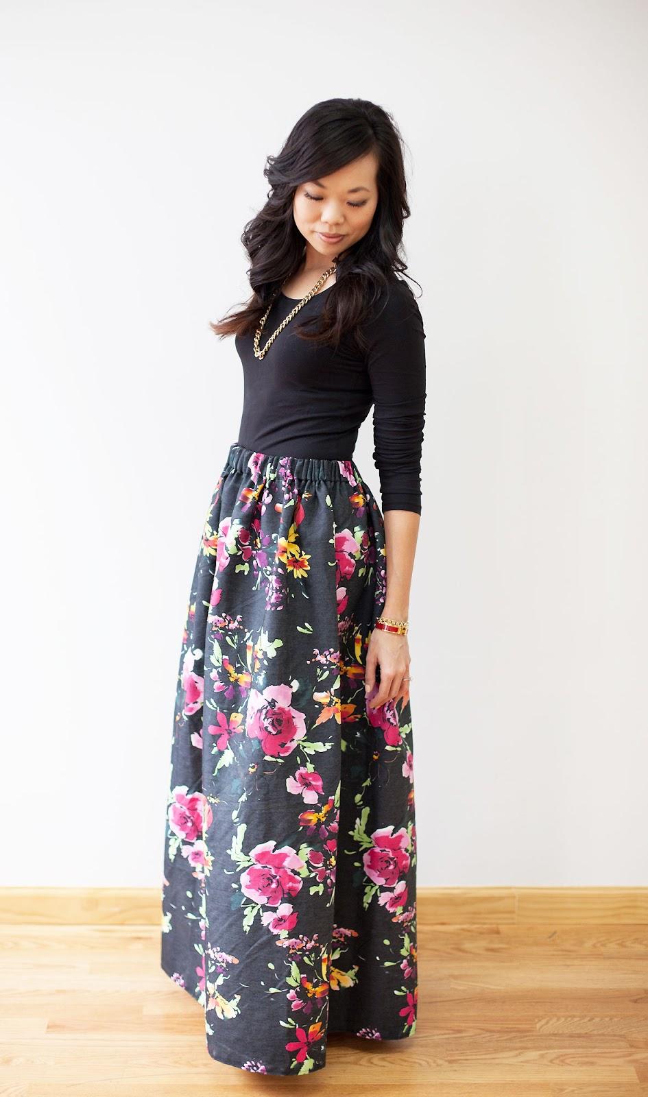 neato! bonito: WEAR: DIY floral maxi skirt