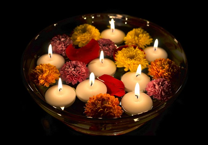 Diwali candles ideas diwali decorations with floating for Diwali decorations ideas home