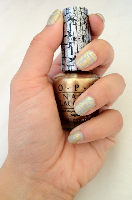 barry m, opi, o.p.i., opi gold shatter, barry m blue moon, blue moon, gold shatter, barry m nail polish, opi nail polish, crackle nail polish, crackle effects, shatter effect
