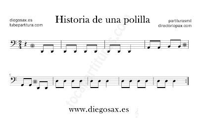 Historia de una pollita partitura para Trombón, Tuba, Violonchelo, Fagot, Bombardino... en clave de Fa