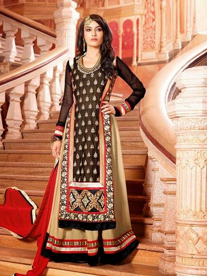 BLACK & CREAM SEMI GEORGETTE ANARKALI