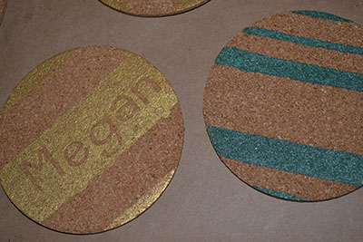 Gold and Emerald coak coasters DIY | Cordier Event Planning