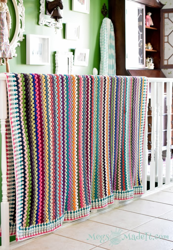 Megsmadeit Granny Stripe Blanket With Pattern