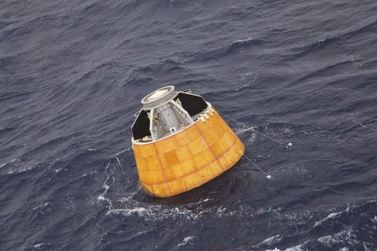CARE Crew Module floating in the Andaman Sea after splash down. Credit: ISRO