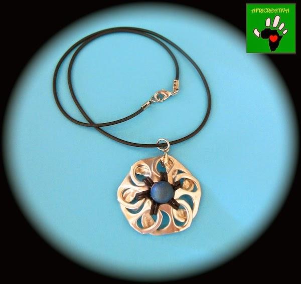 Collana  fiore argentato