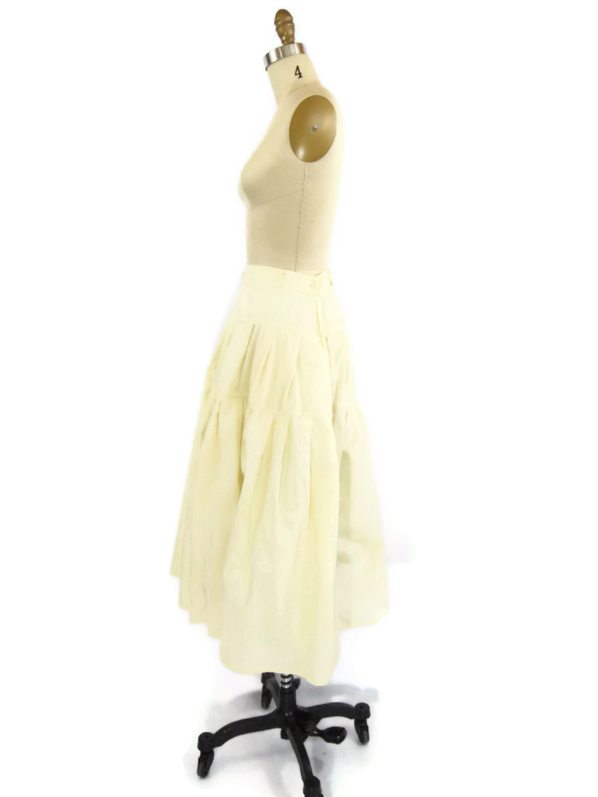 foxburrow vintage 1980s Cotton Pastel Yellow Skirt