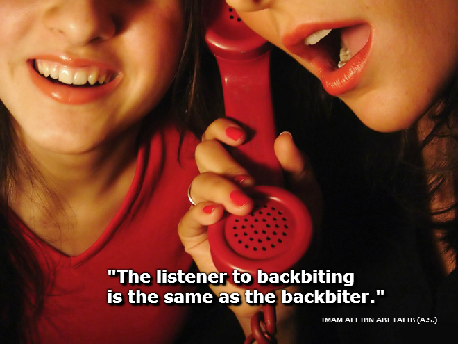 The listener to backbiting is the same as the backbiter.