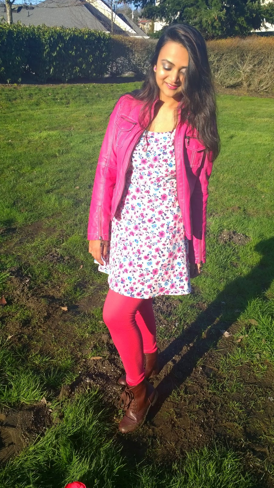 how to wear summer dress in winter, floral skater dress, layering of a dress, pink dress with oink jacket, ananya in pink,