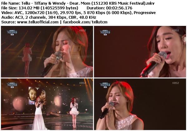 [Perf] Tiffany (SNSD) & Wendy (Red Velvet) – Dear. Mom (151230 @ KBS Music Festival)