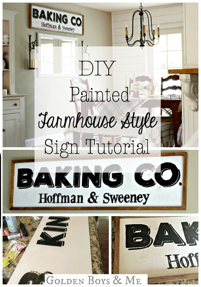 DIY Painted Farmhouse Style Sign tutorial - www.goldenboysandme.com
