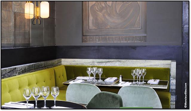 Restaurant Monsieur Bleu Paris Palais Tokyo déco verte Yves Klein, chef  Benjamin Masson architecte Joseph Dirand