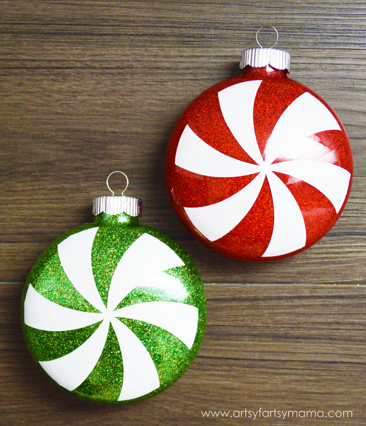 Glitter Peppermint Ornaments at artsyfartsymama.com