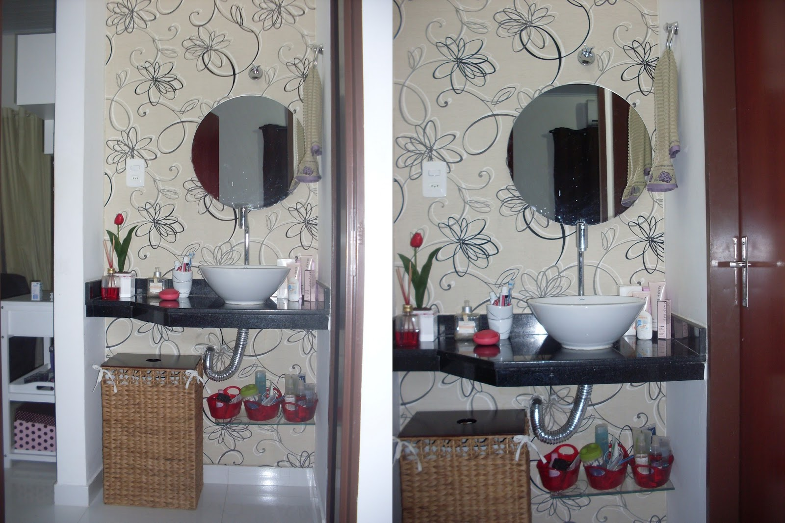 Tecido com detalhes em areia branco e preto #62433E 1600x1066 Banheiro Branco Com Detalhes Em Preto
