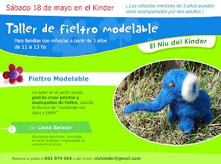 Cartel taller fieltro modelable con Liana Salazar Educadora Kinder Barcelona