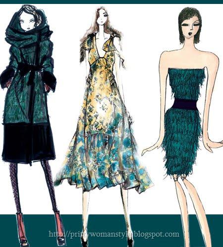 Цветове за Дамска Мода PANTONE Есен 2011 тъмно синьо-зелено