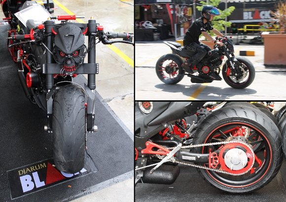 Foto Suzuki Satria R Modifikasi Pemenang Best Black Bike (Djarum Black  title=