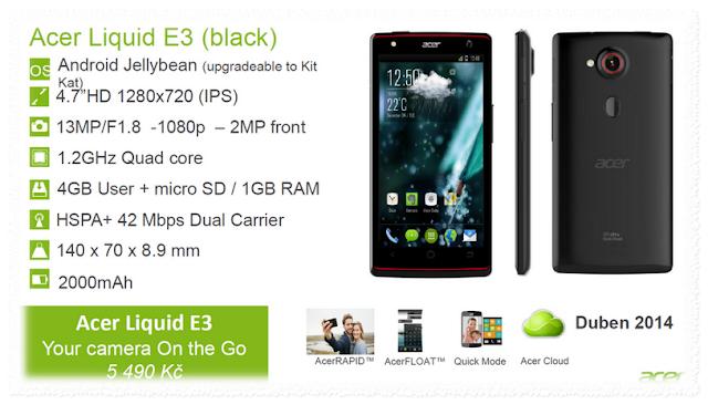 Harga HP Acer E3 1 Jutaan Dengan Spesifikasi Memukau