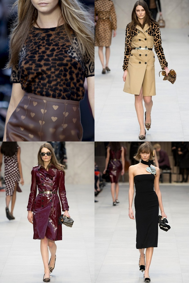 Burberry, London Fashion Week, Christopher Bailey, Trench Kisses, F/W 2013/14, heart motif, animal print