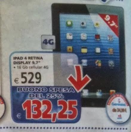 Sconto di 100 euro sul prezzo di listino e bonus spesa del 25% sull'iPad 4 da IL Gigante fino al 30 ottobre