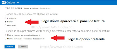 agregar panel de lectura en outlook