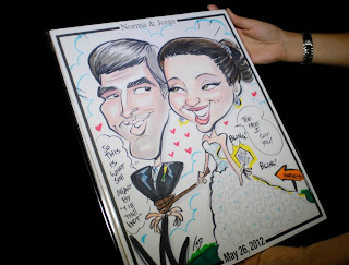 at last wedding and event design caricature
