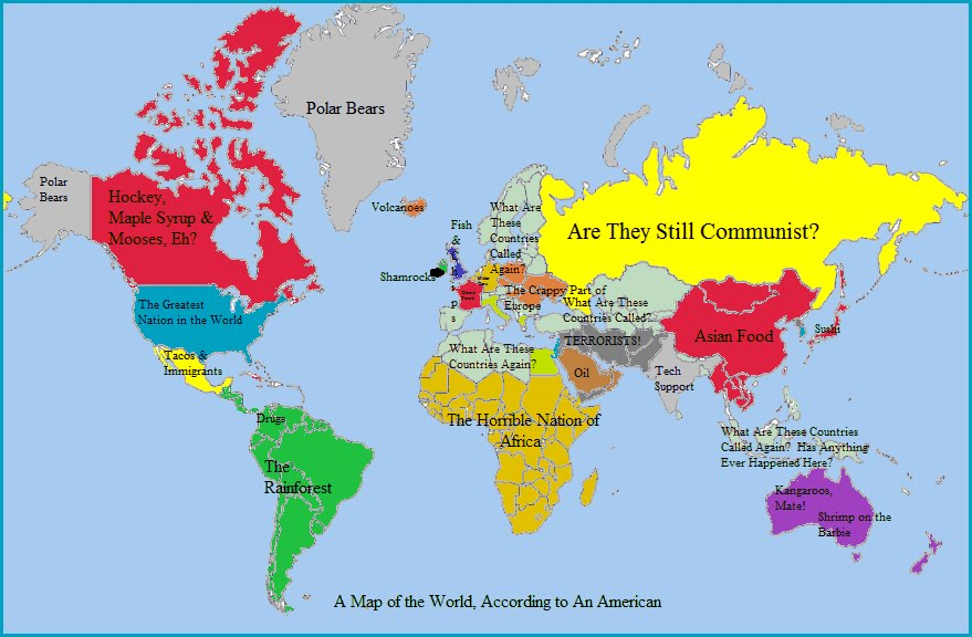 American map of the world   Americans