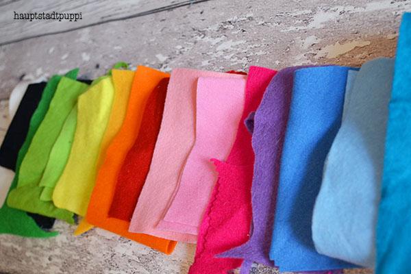 Filzplatten in vielen bunten Farben - kostenloses DIY von hauptstadtpuppi