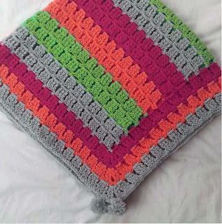 Baby blanket in bright colours, alternative colour baby blanket pattern