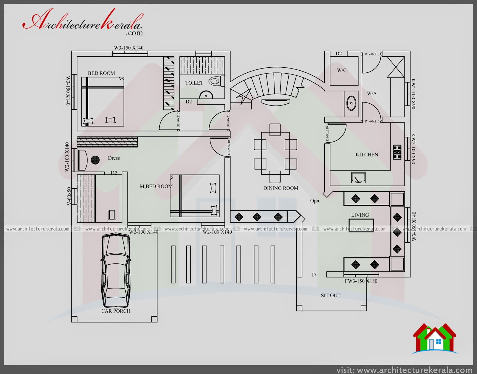 Contemporary style plan and elevation architecture kerala for Modern nalukettu house plans