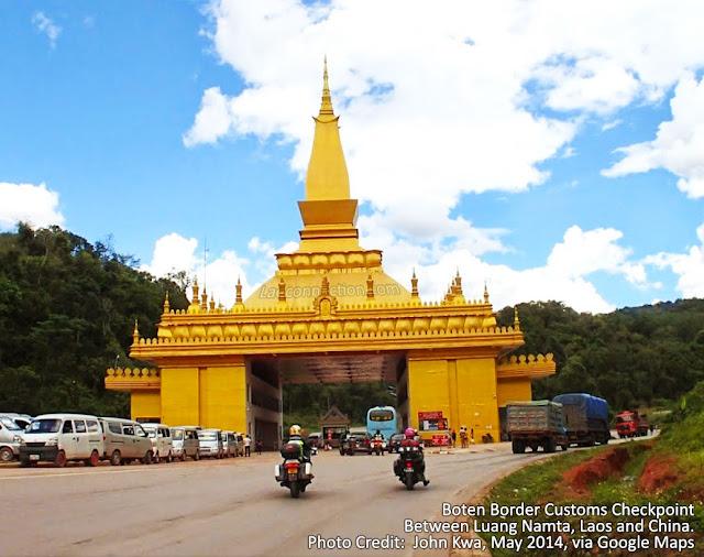 Boten Border Customs Checkpoint between Luang Namta, Laos and China.