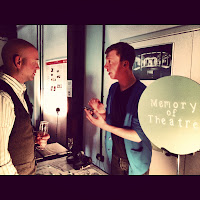 Andy Collyer talking with the designer of the project Memory of Theatre
