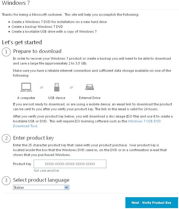 Tool online per scaricare ISO Windows 7 da Microsoft
