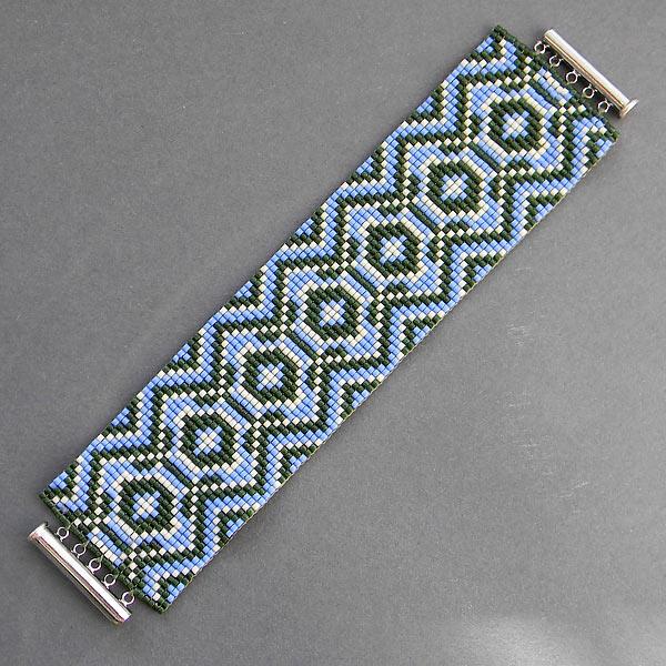 Украшения от Anabel-: Широкий браслет из бисера с авторским орнаментом.