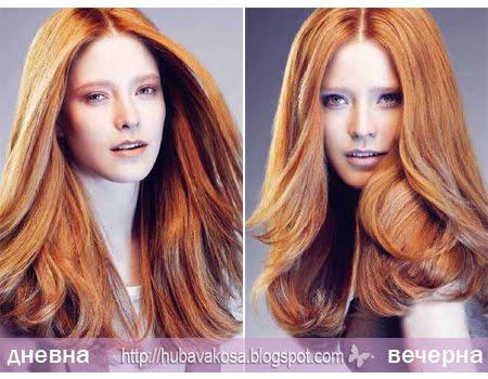 Прическа с обем за дълга права коса