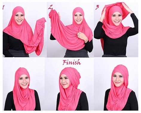 Gambar Tutorial Cara Pakai Hijab Modern Ala Zaskia Adya Mecca