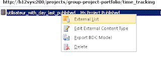 creation liste externe external list BDC model
