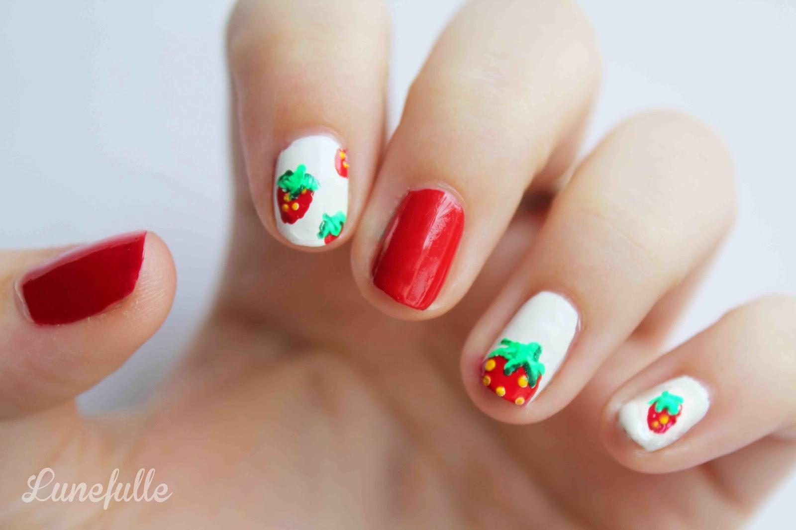 Lunefulle le blog julinfinity le nail art fraise pour bien entrer dans le printemps - Nail art printemps ...