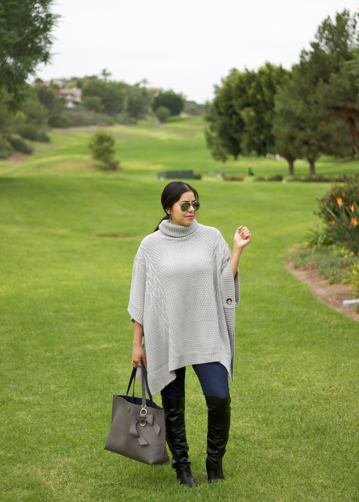 Poncho Turtleneck, san diego fashion blogger, san diego fall fashion 2015, san diego style blogger, gray turtleneck sweater
