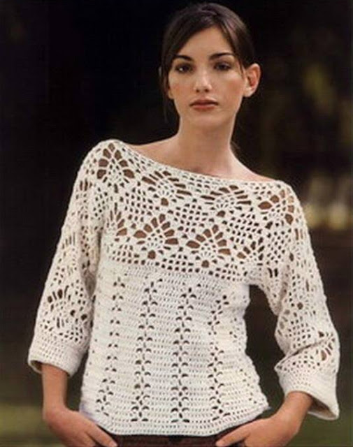 #683 Patrón de Suéter con manga Kimono a Crochet