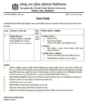 The application notice for senior staff nurse at BangabandhuSheikh