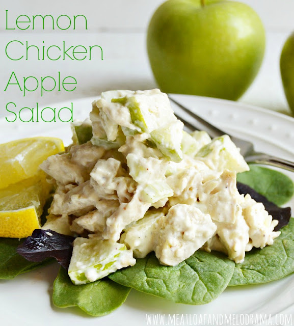 chicken salad with green apples and lemon