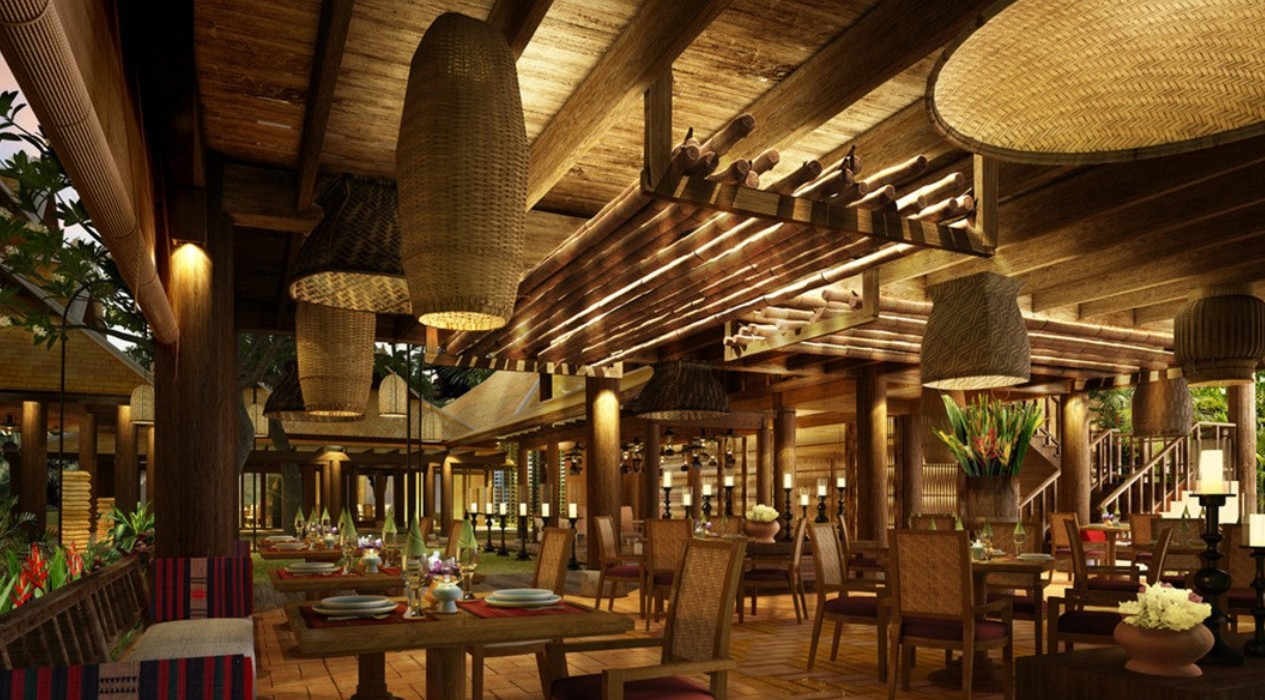 southeast asian restaurant with bamboo lampion and wooden furniture
