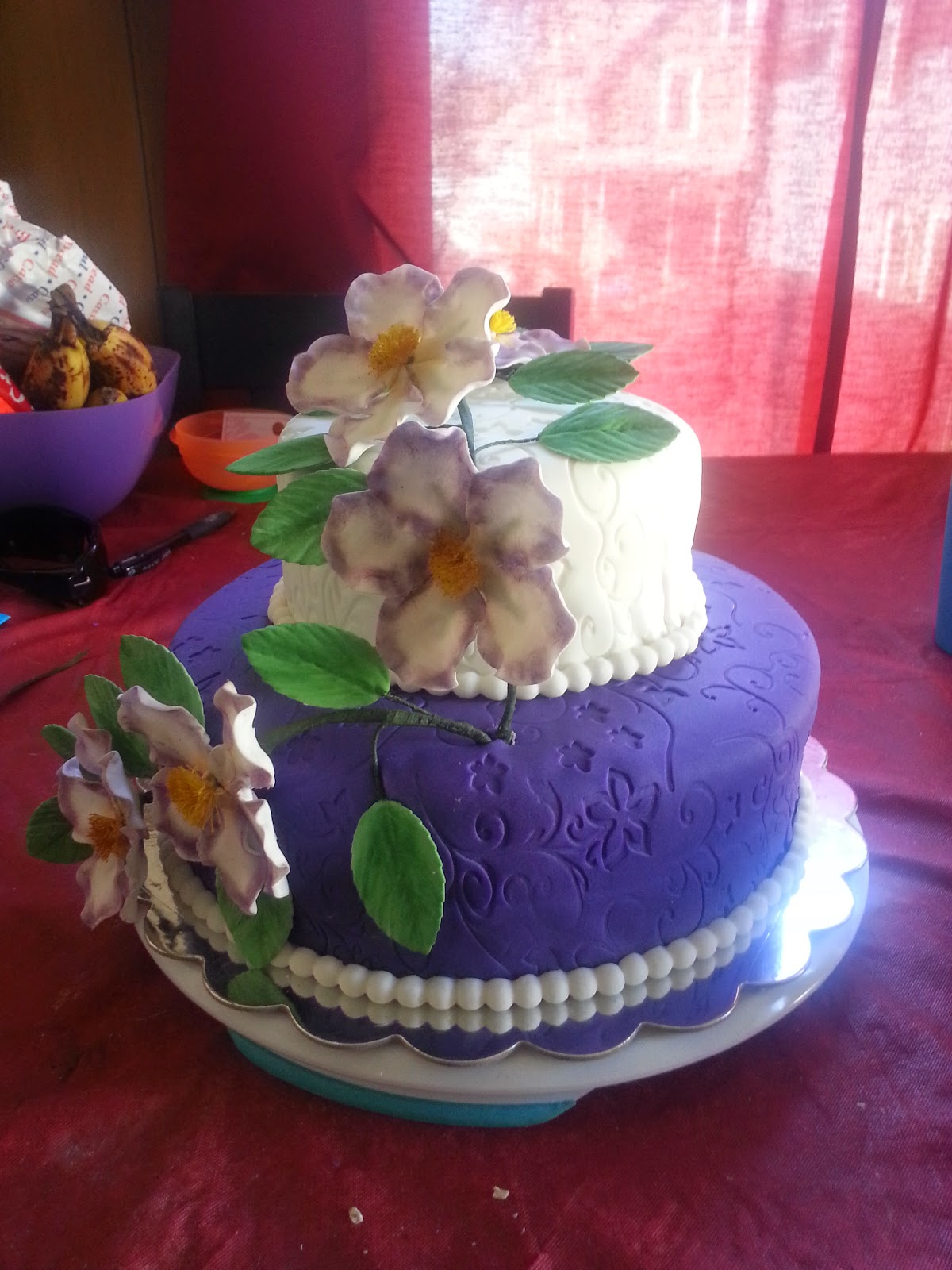 tricias sweet treats bridal shower cake with purple briar roses