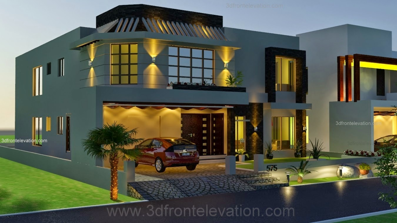 Front Elevation Of Houses In Lahore : D front elevation kanal house drawing floor plans