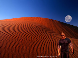 Desktop Wallpaper of Vin Diesel Wheelman the Movie in Red Moon Desert Wallpaper