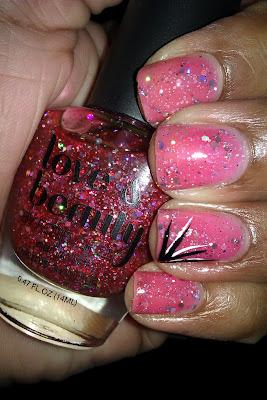 Pink, glitter, jelly sandwich, glitter sammy, accent nail, nail art, mani