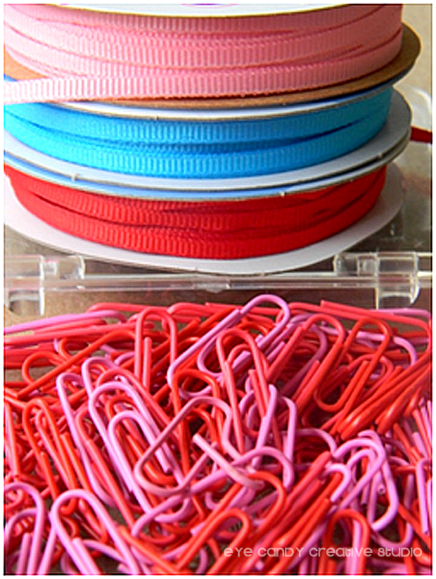 paperclips, valentines craft, kids valentines, ribbon for crafts