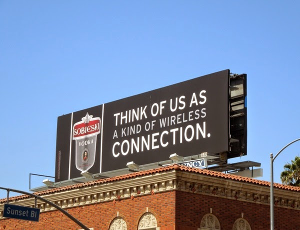 Sobieski Vodka Think of us wireless connection billboard