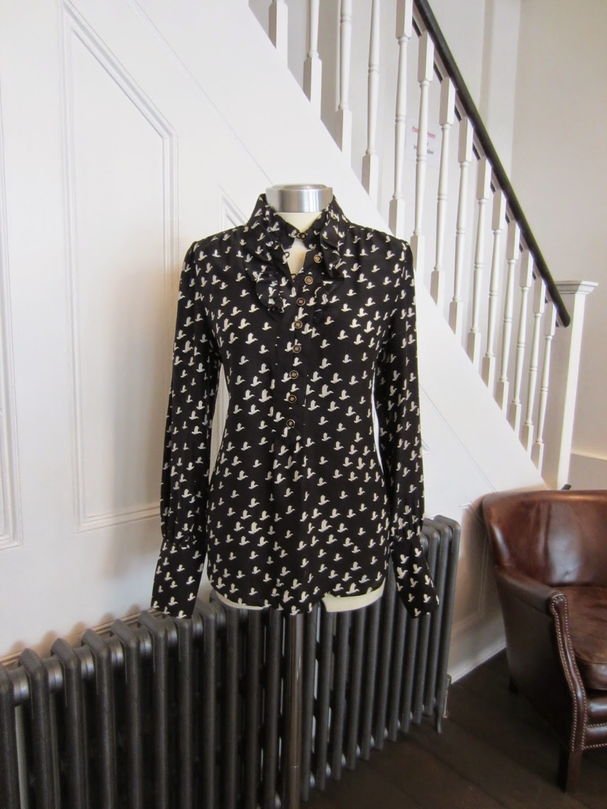 Juicy Couture Black Silk Blouse with White Bird Print