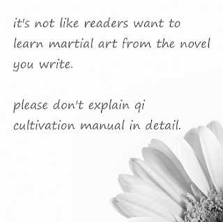 Readers didn't want to learn the martial art from the novel you write. No need writing cultivation in details.